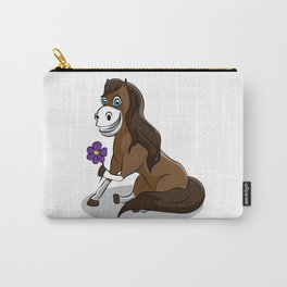 happy horse with flower Girl Daughter Wife Present Carry-All Pouch