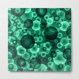 psychedelic green spheres floating in the space digital graphic design Metal Print