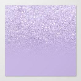Stylish purple lavender glitter ombre color block Canvas Print