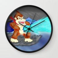donkey kong Wall Clocks featuring Donkey Kong Super Kamehameha by Juiceboxkiller