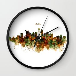 Seattle Watercolor Skyline Poster Wall Clock