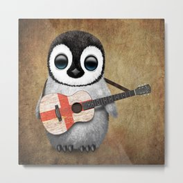 Baby Penguin Playing English Flag Guitar Metal Print