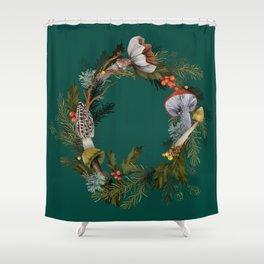 Mushroom Forest Wreath Shower Curtain