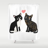 custom Shower Curtains featuring Custom Cats by Cassandra Berger