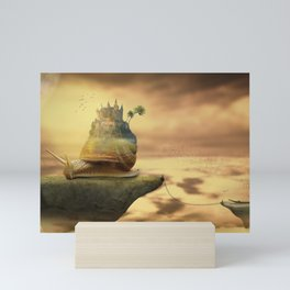 The Snail With The Castle Back Pulls The World Mini Art Print