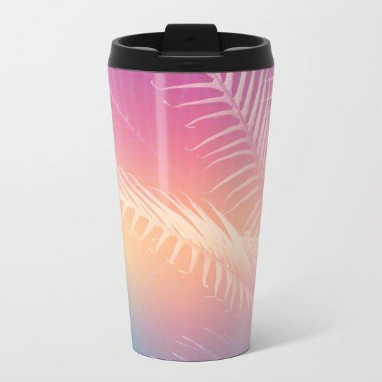 Gradient Tropical leaves Metal Travel Mug