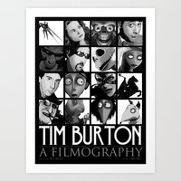 tim burton Art Prints featuring Tim Burton - a filmography by Martin Woutisseth