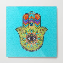 Colorfull  Hamsa Hand with paisley Metal Print