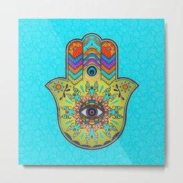 Colorfull  Hamsa Hand with paisley Metal Print