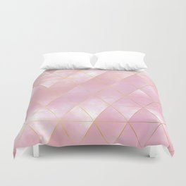 moody triangles // pink and golden Duvet Cover