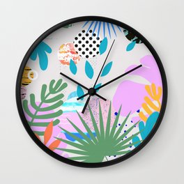ABSTRACT TROPICAL JUNGLE PATTERN CLASHING Wall Clock