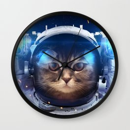 Beautiful cat in outer space Wall Clock