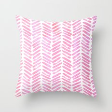 Handpainted Chevron pattern - pink and pink ;) Throw Pillow