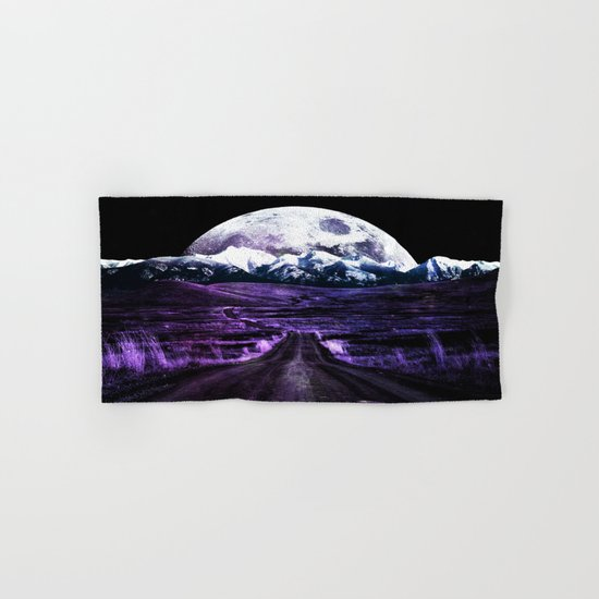 Highway to Eternity (moon mountain) violet Hand & Bath Towel