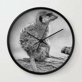 Meerkat (Black and White) Wall Clock