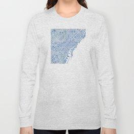 Barcelona Blueprint Watercolor City Map Long Sleeve T-shirt
