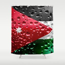 Jordanian Flag - Raindrops Shower Curtain
