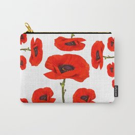 DECORATIVE MODERN RED-ORANGE POPPIES GARDEN DESIGN Carry-All Pouch