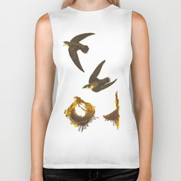 Vintage Scientific Bird & Botanical Illustration Biker Tank