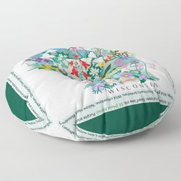 Wisconsin Wildflowers with border Floor Pillow