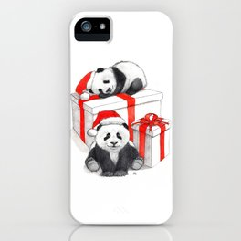 Christmas-Panda's babies g144 iPhone Case