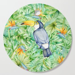 Toucan Tropical Leaves Pattern Cutting Board