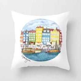 Copenhagen Watercolour Throw Pillow
