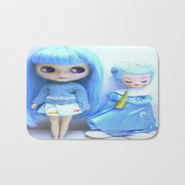 Blythe in blue with angel Bath Mat