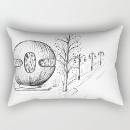drawing pencil. the city central street, a streetlight on a front background. Rectangular Pillow