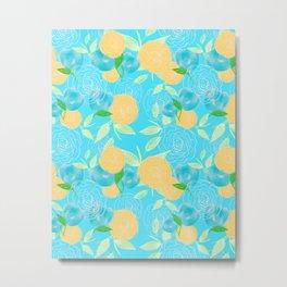 06 Yellow Blooms on Blue Metal Print