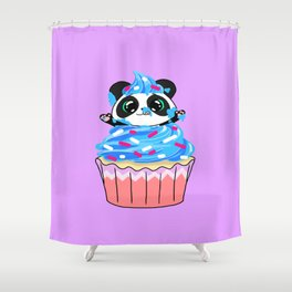 A Panda Popping out of a Cupcake Shower Curtain