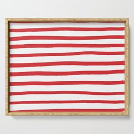 Red hand drawn stripes Serving Tray