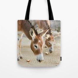 Two Donkeys Eating Apples Tote Bag