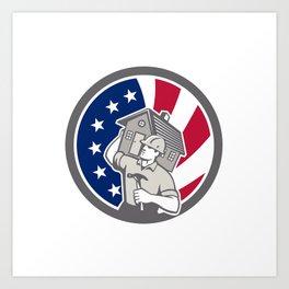 American Building Contractor USA Flag Icon Art Print