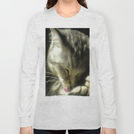 Soft And Gentle Fur And Purr Of A Grey Cat Long Sleeve T-shirt