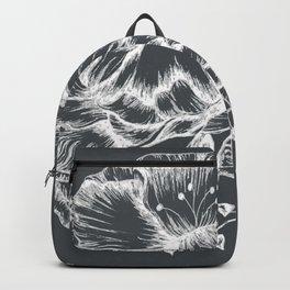 Three white inked flowers Backpack