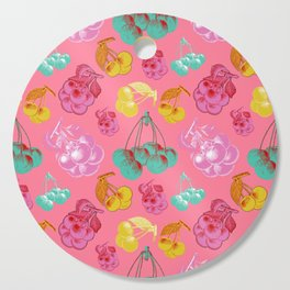 colorful pink cherry pattern Cutting Board