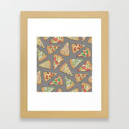 Pizza on Dark Grey Framed Art Print