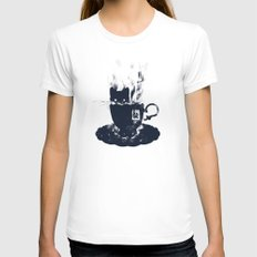 Having Tea With my Lovely Cat SMALL White Womens Fitted Tee
