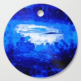cloudy sky blue turquoise splatter watercolor Cutting Board