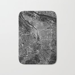 Portland Black Map Bath Mat