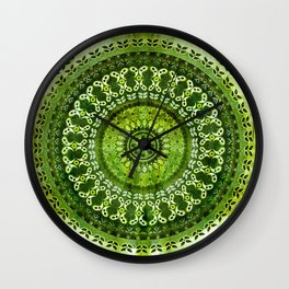 Vintage Lime Mandala Wall Clock