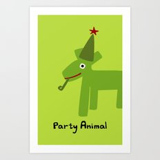 Party Animal-Green Art Print