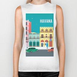 Havana, Cuba - Skyline Illustration by Loose Petals Biker Tank