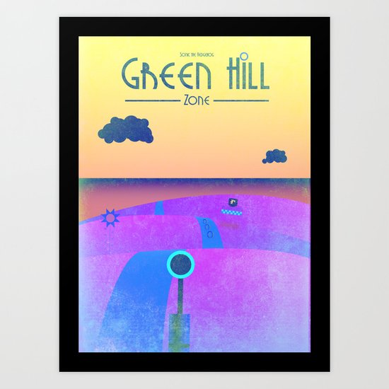 Sonic - Green Hill Zone travel poster Art Print