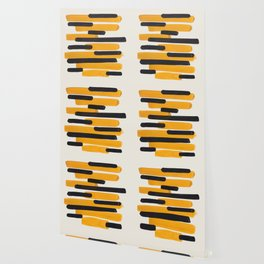 Mid Century Modern Abstract Painting Antique Yellow Black Bumble Bee Stripes Wallpaper