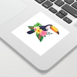 Tropical Toucan Floral Watercolor Sticker
