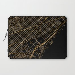 Black and gold Barcelona map Laptop Sleeve