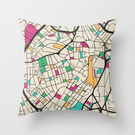 Colorful City Maps: Sheffield, England Throw Pillow
