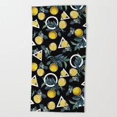 Geometric and Lemon pattern II Beach Towel